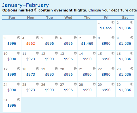 A screenshot of flights from NYC to Madgascar