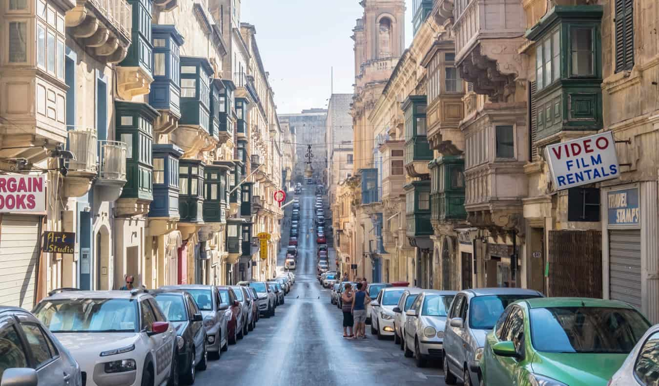 The narrow streets of the Old Town in Valletta, Malta