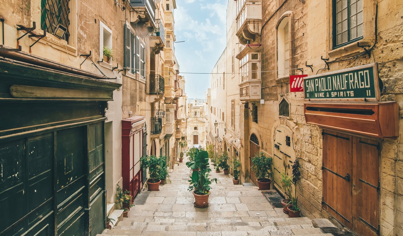 The ancient, narrow streets and old buildings of Malta
