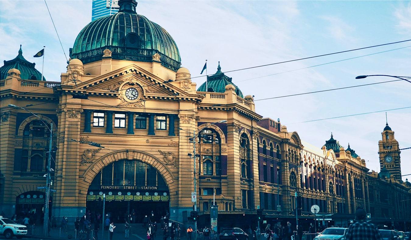 The historic Flinders Street Station in Melbourne, Australia