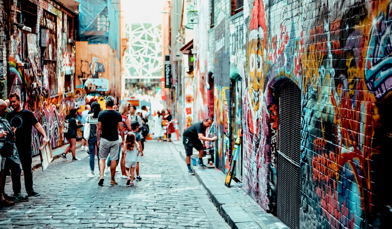 An alley full of street art, graffiti, and murals in Melbourne, Australia