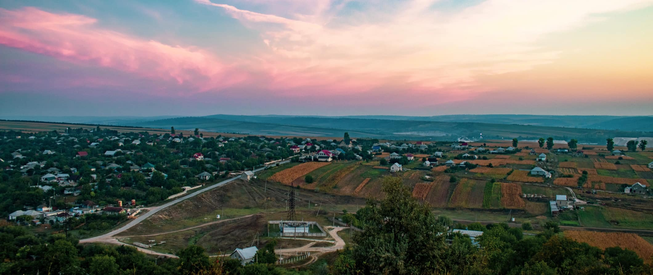 The wide open spaces of Moldova during the sunset