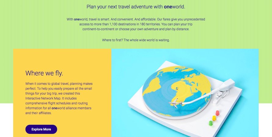 The Oneworld Alliance RTW ticket homepage