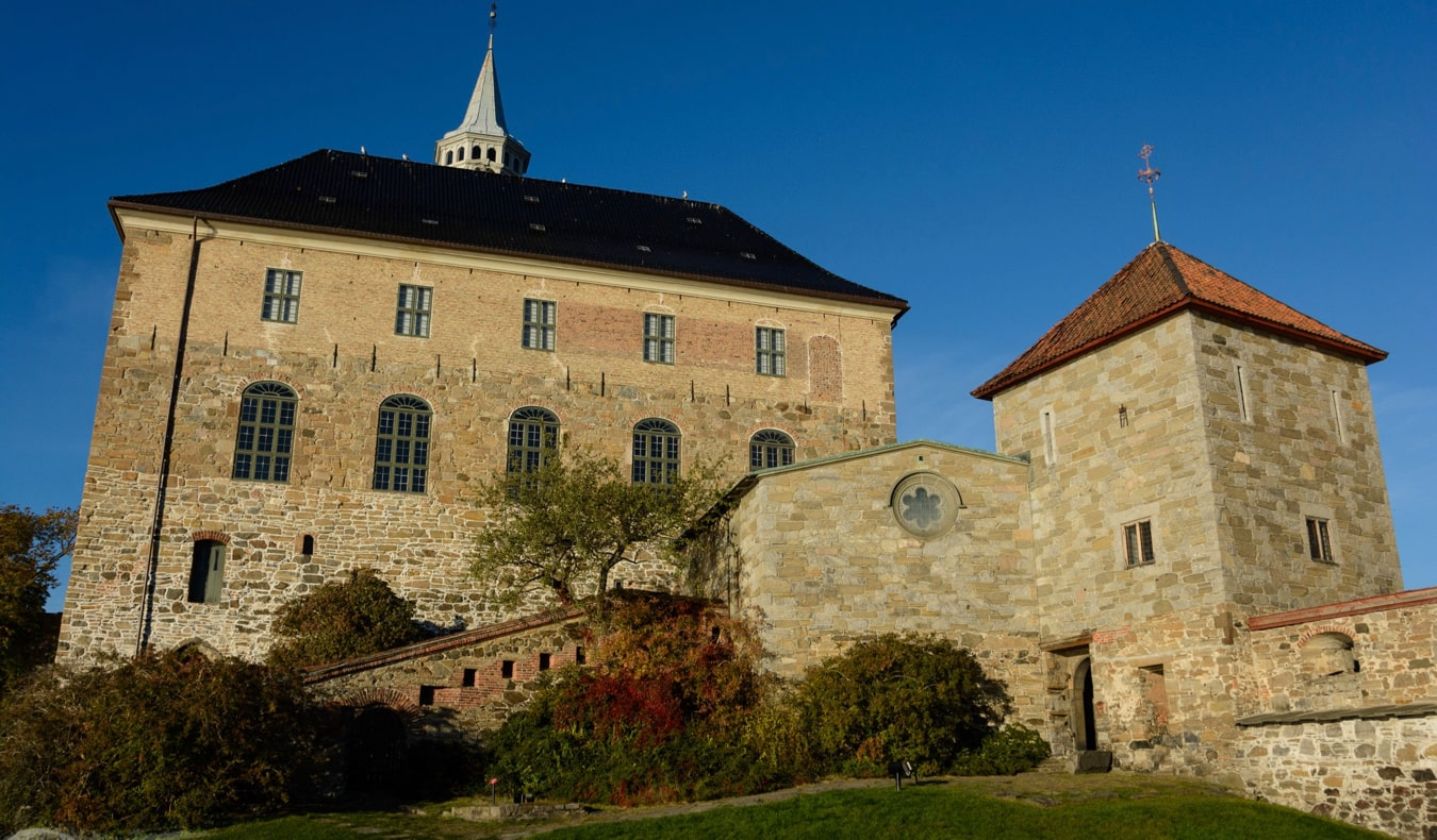 The exterior of Akershus Castle in Oslo, Norway in the summer