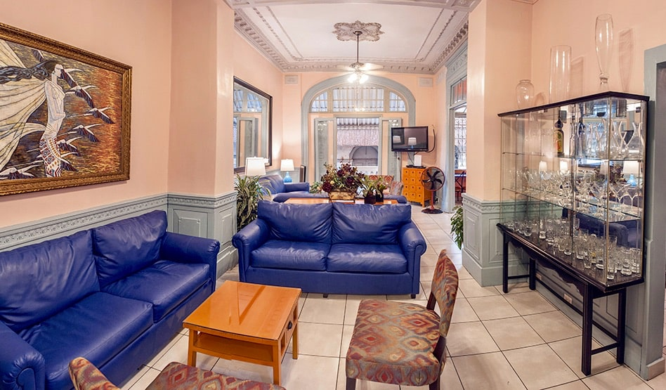 The posh interior of the Magnolia Inn Casa Viejo hostel in Panama City