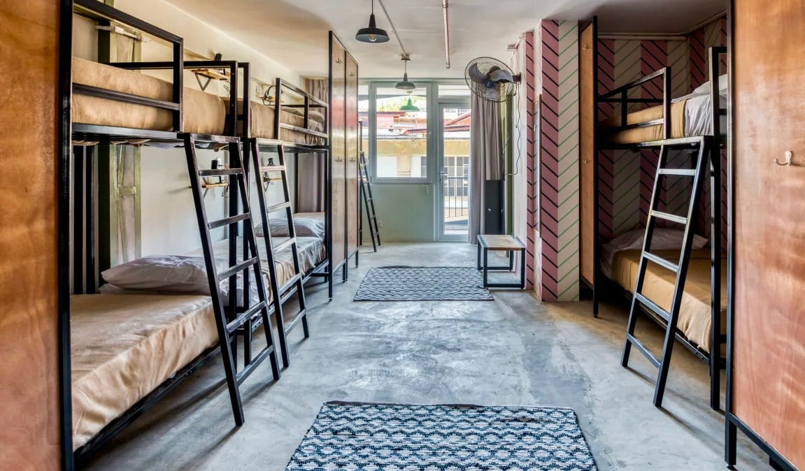 A classy and spacious dorm room in Selina Casco Viejo hostel in Panama City