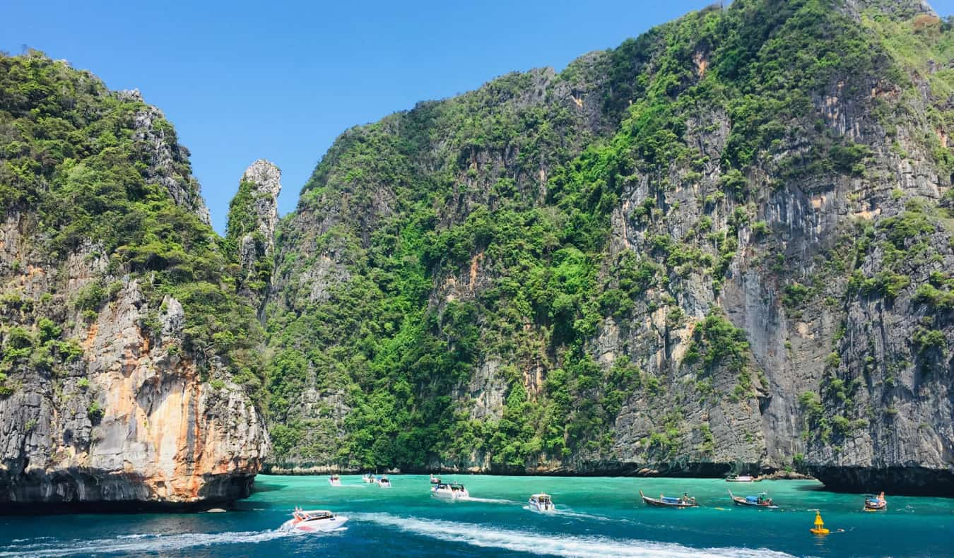 A busy and crowded bay in Ko Phi Phi, Thailand