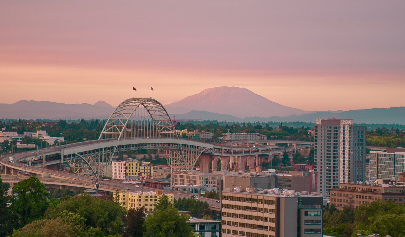 A colorful pink sunset over Portland, Oregon, USA