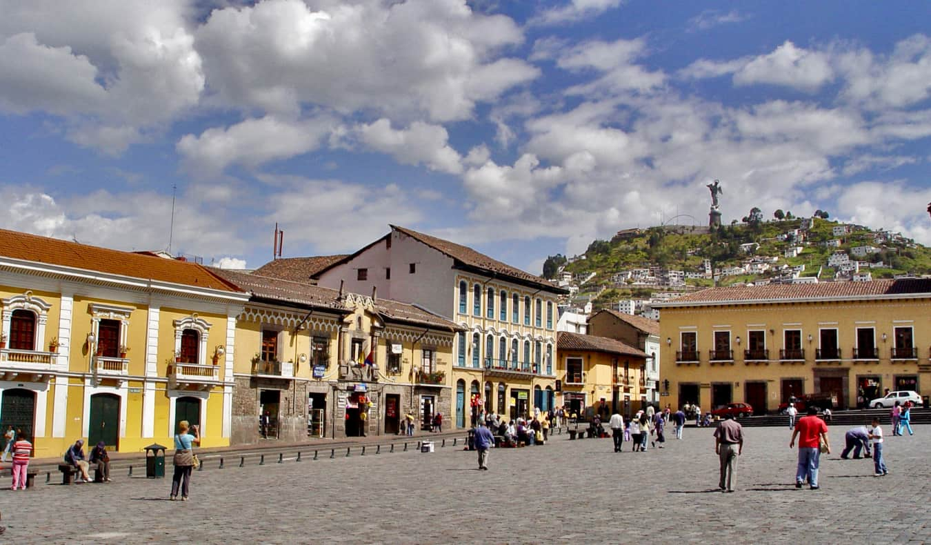 The spacious San Francisco Plaza in Quito, Ecuador