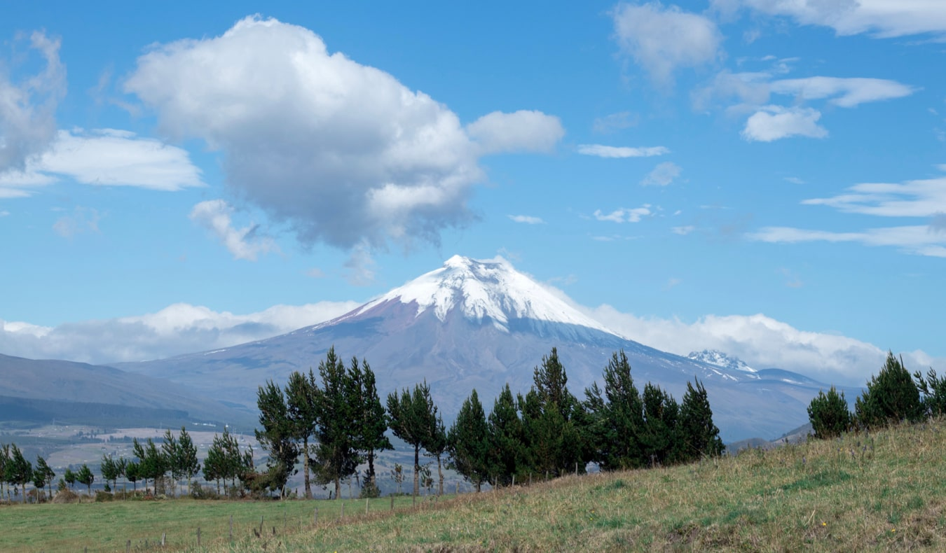 The snow-capped Cotopaxi volcano near Quito, Ecuador