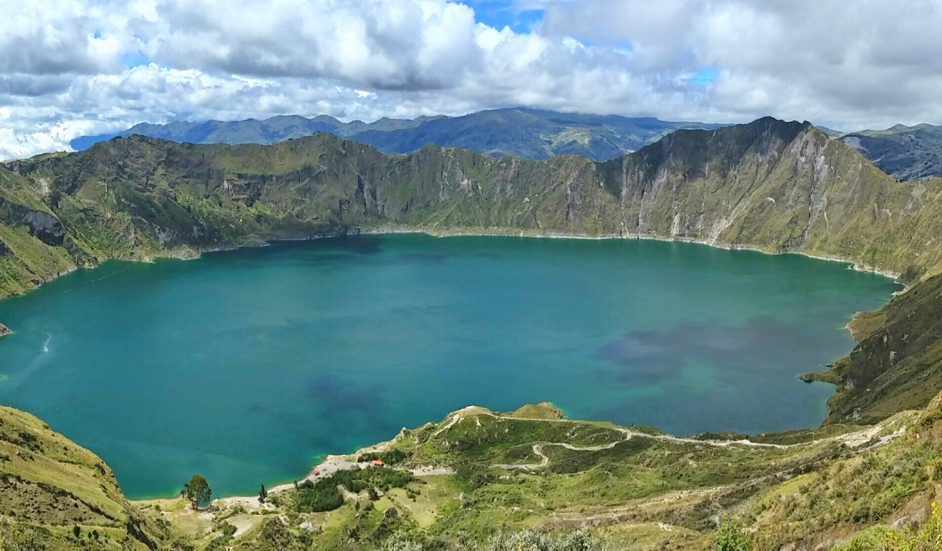 The massive volcanic crater lake Laguna Quilotoa near Quito, Ecuador