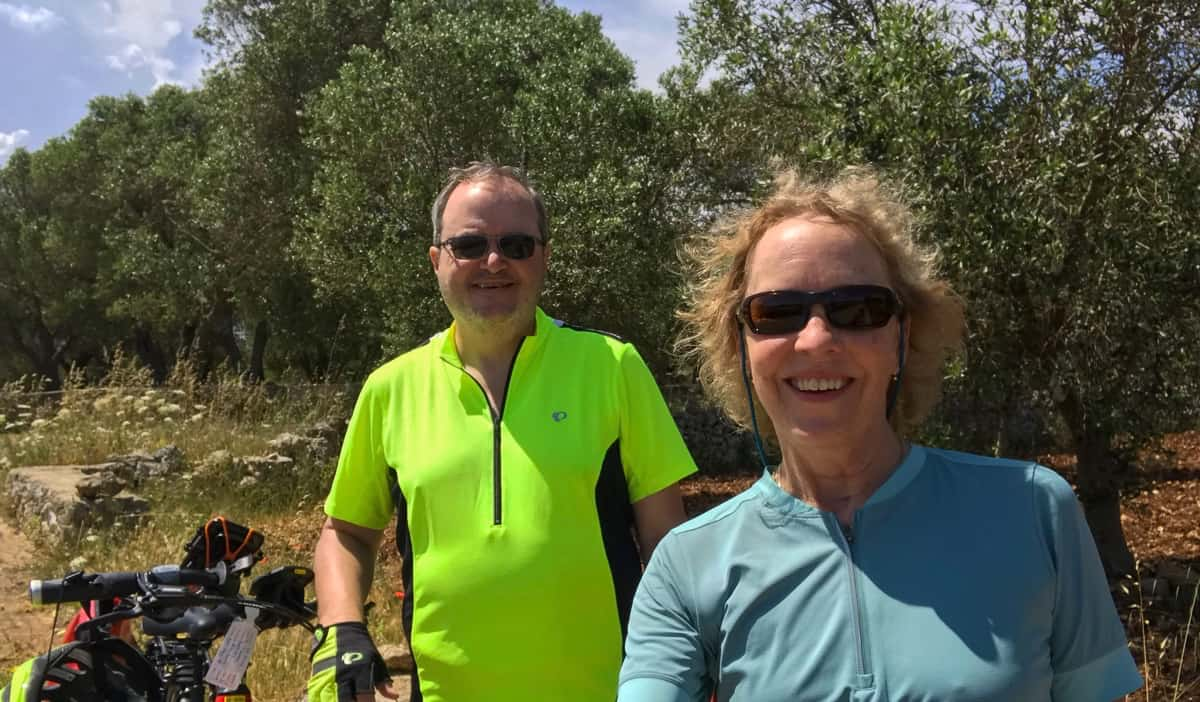 A retired couple cycling abroad