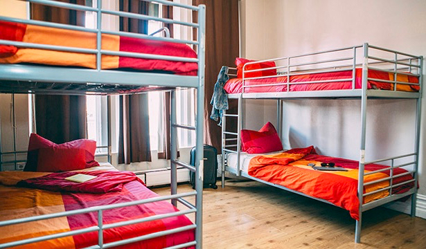 The bunk beds in a dorm room in the HI Hostel in downtown San Diego, California