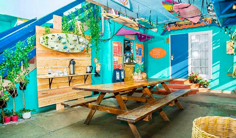 The common area of the ITH Surf Hostel in San Diego, California