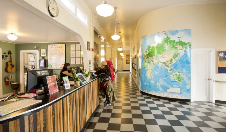 The front desk and lobby of the HI hostel at Fisherman's Wharf in San Francisco, USA