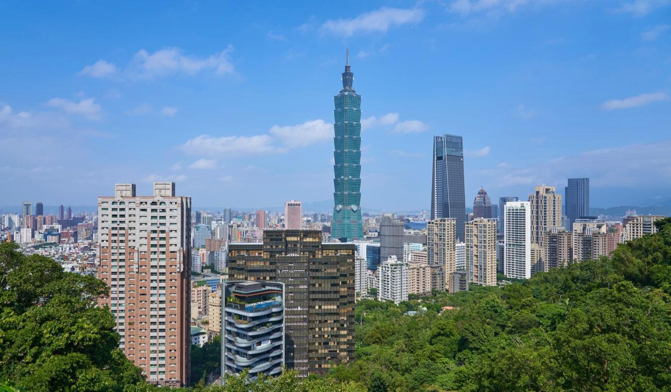 The massive Taipei 101 skyscraper in Taipei, Taiwan