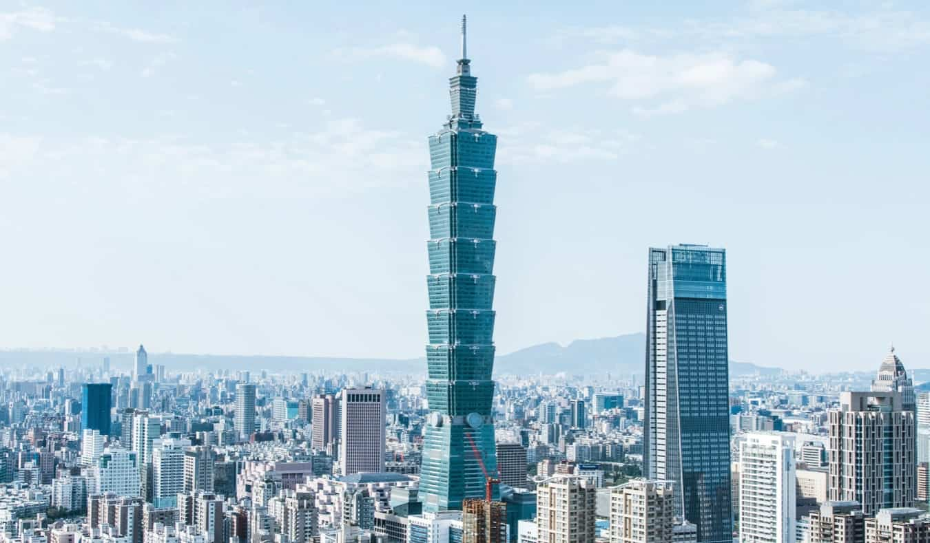 The towering skyline of Taipei, featuring Taipei 101 in Taiwan