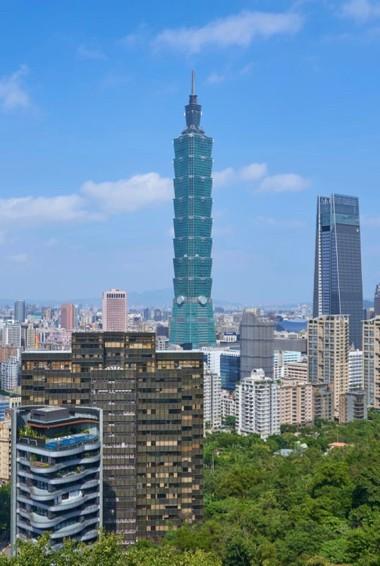 The towering Taipei 101 building in Taipei, Taiwan