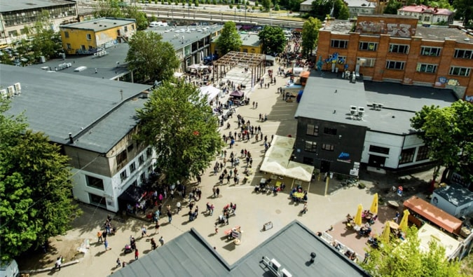 Crowds of people at Telliskivi Creative City in Tallinn, Estonia