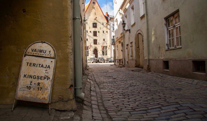 An empty street in the Old Town of Tallin, Estonia