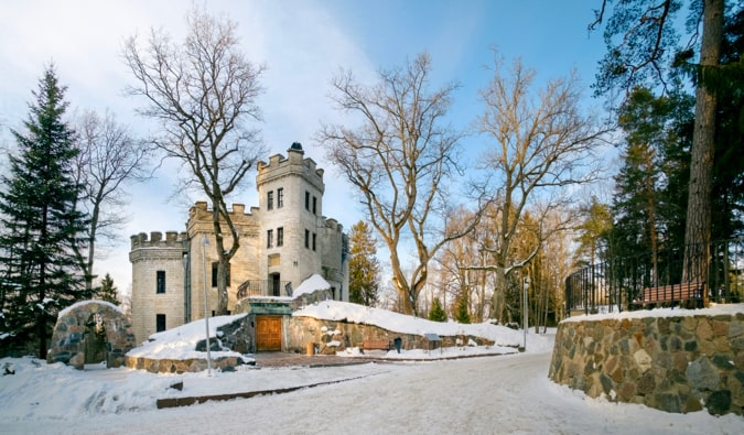 Glehn Castle and Park in Tallin, Estonia in the winter