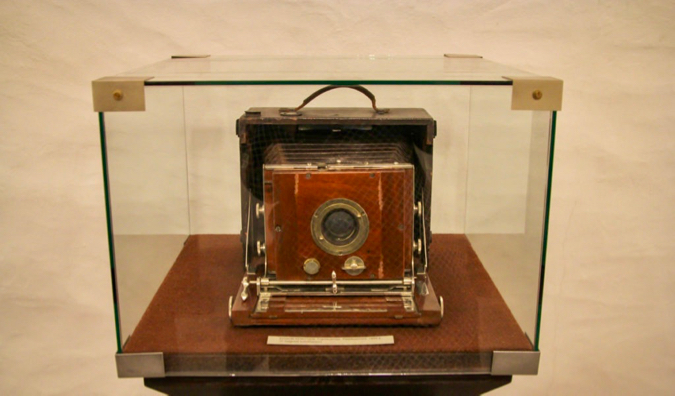 An antique camera in the Tallinn Museum of Photography in Tallinn, Estonia