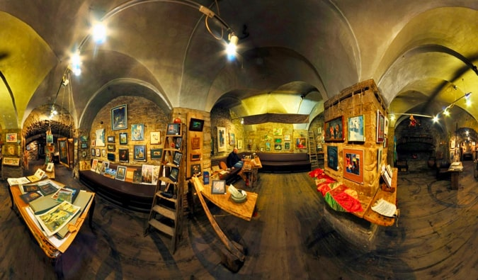 The interior of the Ichthus Art Gallery in Tallinn, Estonia