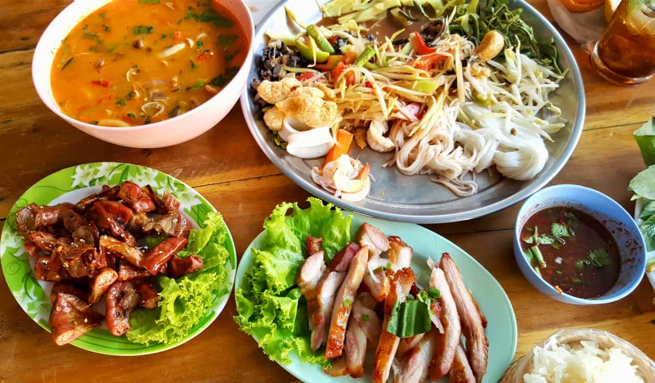 A delicious meal of local food in Thailand