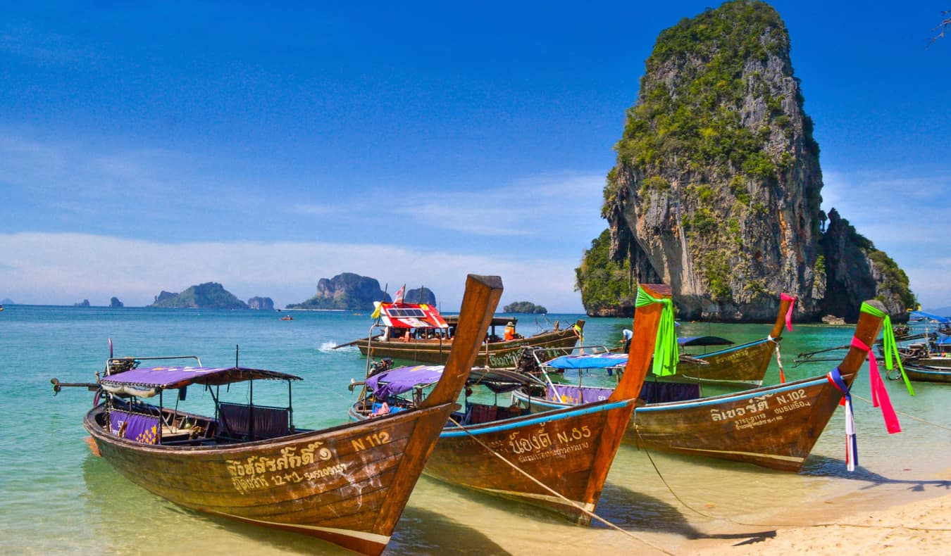 Beautiful weather at the beach on a tropical island in Thailand