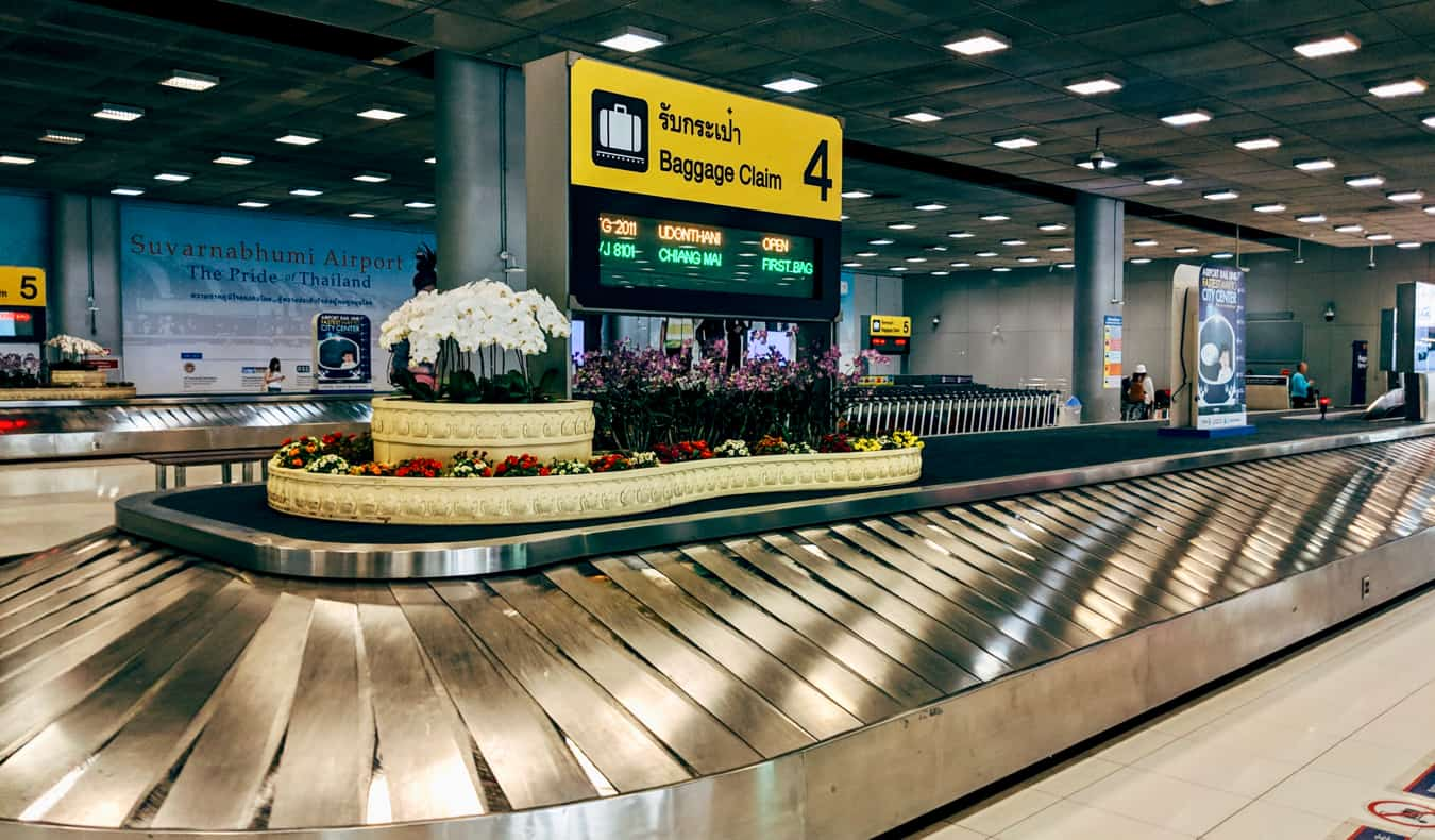 The baggage claim area at the Bangkok airport in Thailand