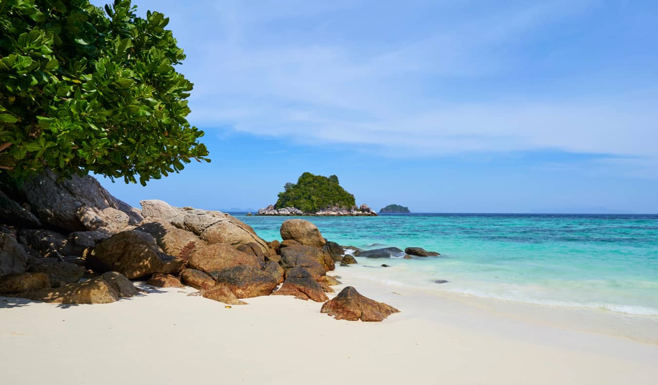 A picture-perfect beach on an island in tropical Thailand