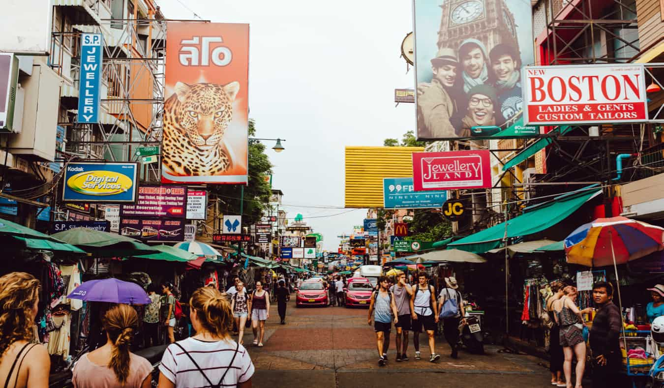 One of the many bustling markets full of locals and tourists in Thailand