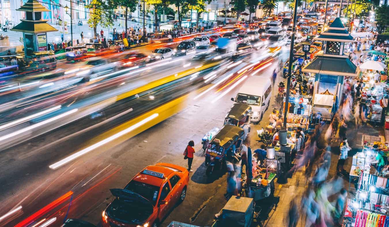 A busy street in Bangkokg, Thailand at night