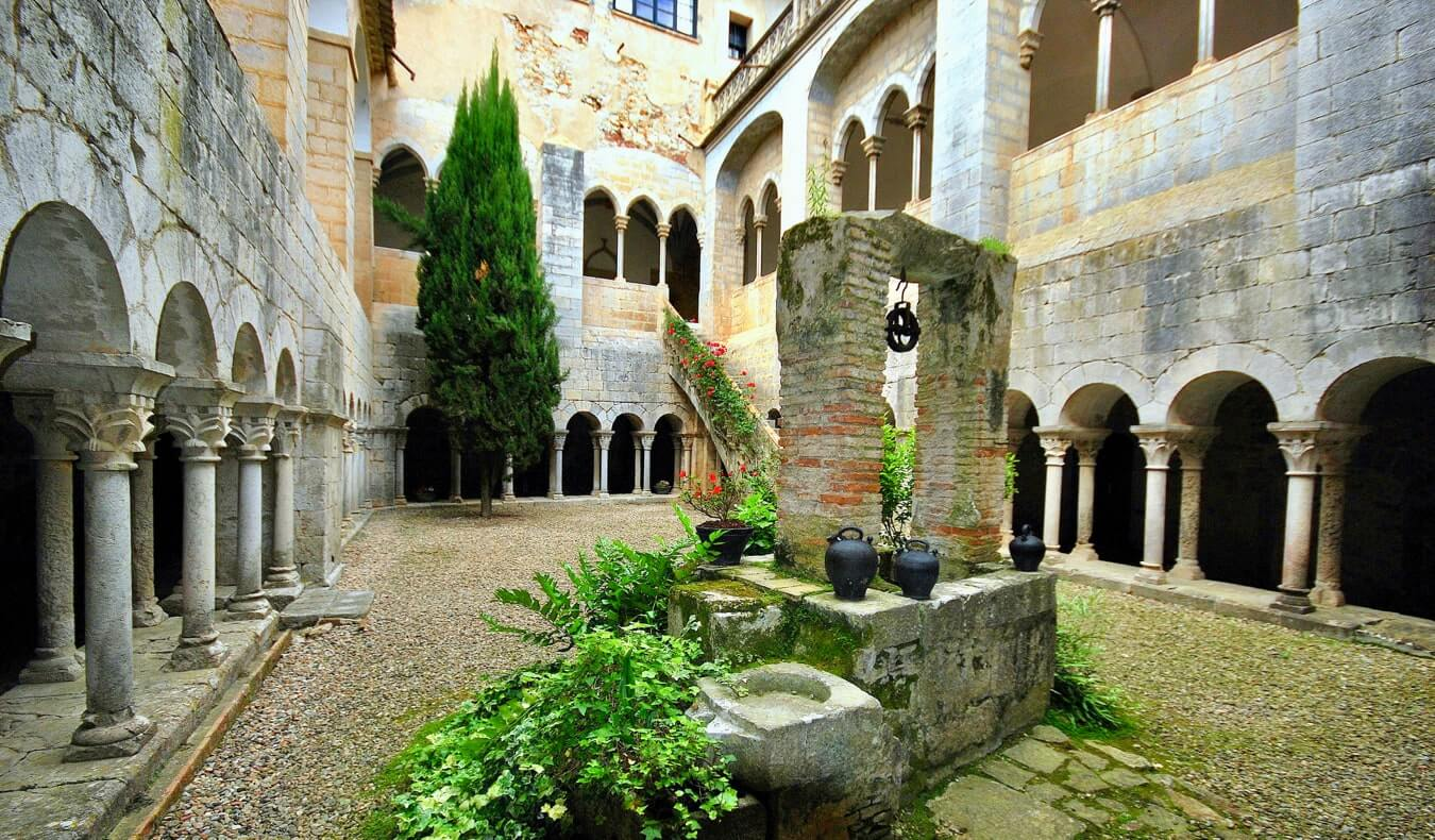 The courtyard interior of the Monastery of Saint Daniel in Girona, Spain