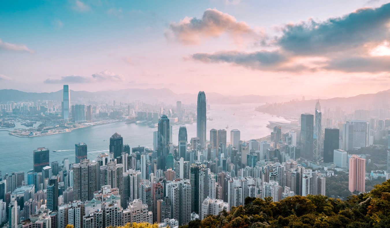 The massive and towering skyline of Hong Kong at sunset