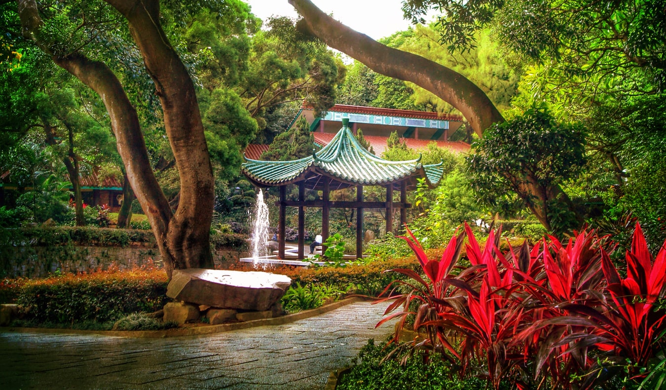 A small gazebo in the spacious Kowloon Park in Hong Kong