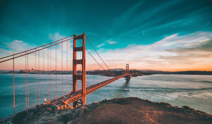 The famous Golden Gate Bridge in San Francisco, USA at sunset