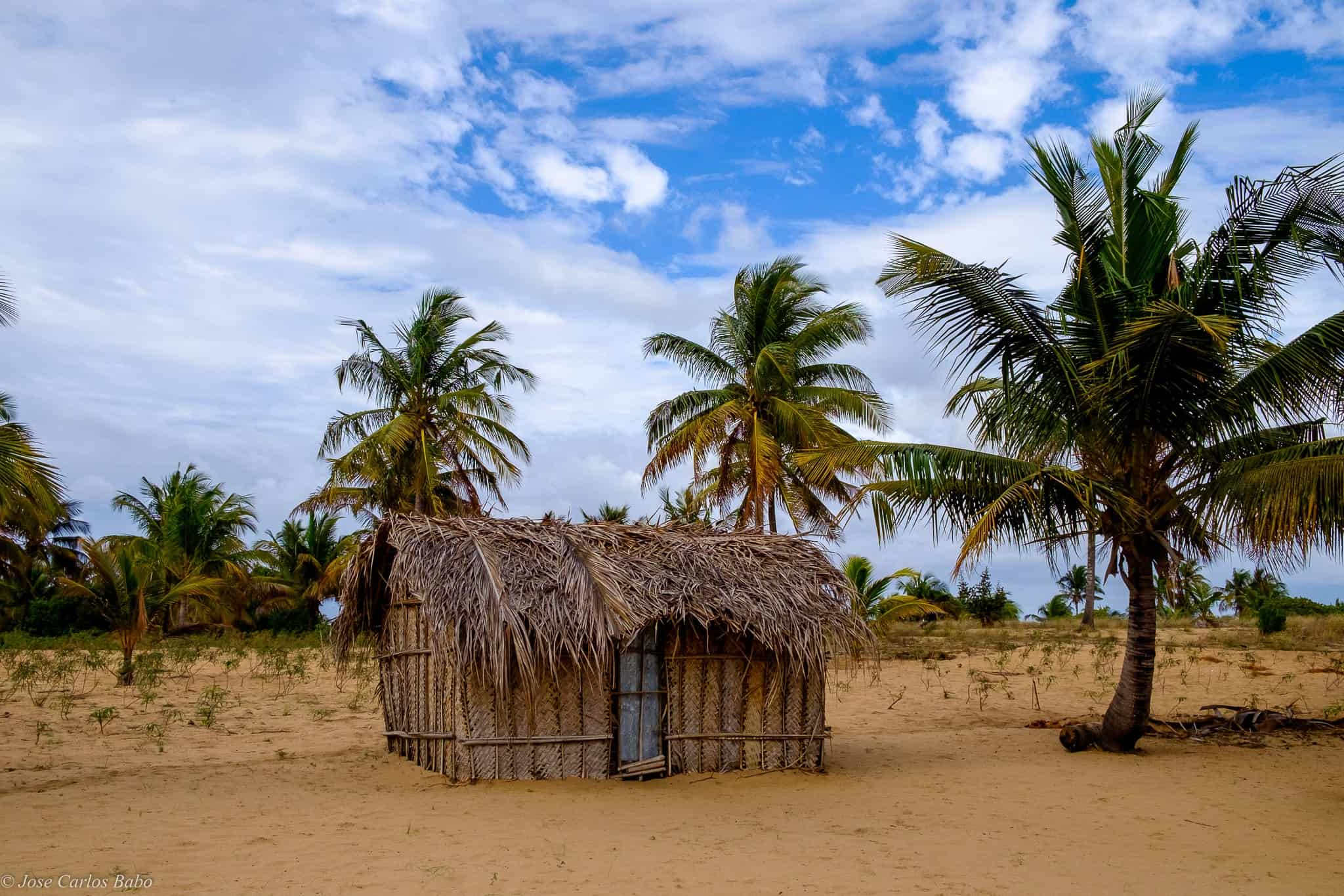 A small, traditional beach hut in Tofo, Mozambique