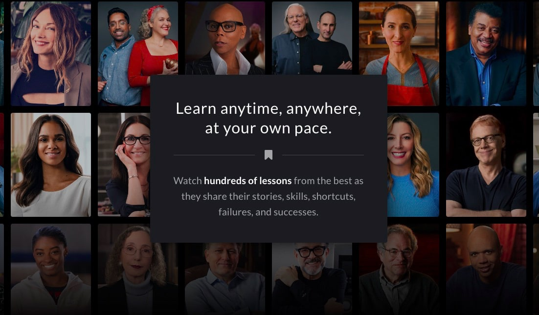 The Masterclass homepage