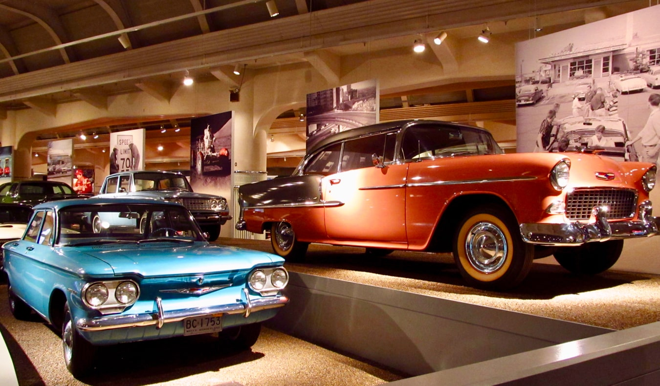Old Ford automobiles in the Henry Ford museum in Detroit, Michigan
