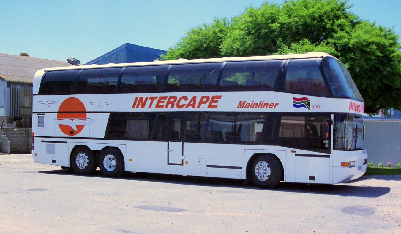 Intercape bus parked in a parking lot in South Africa
