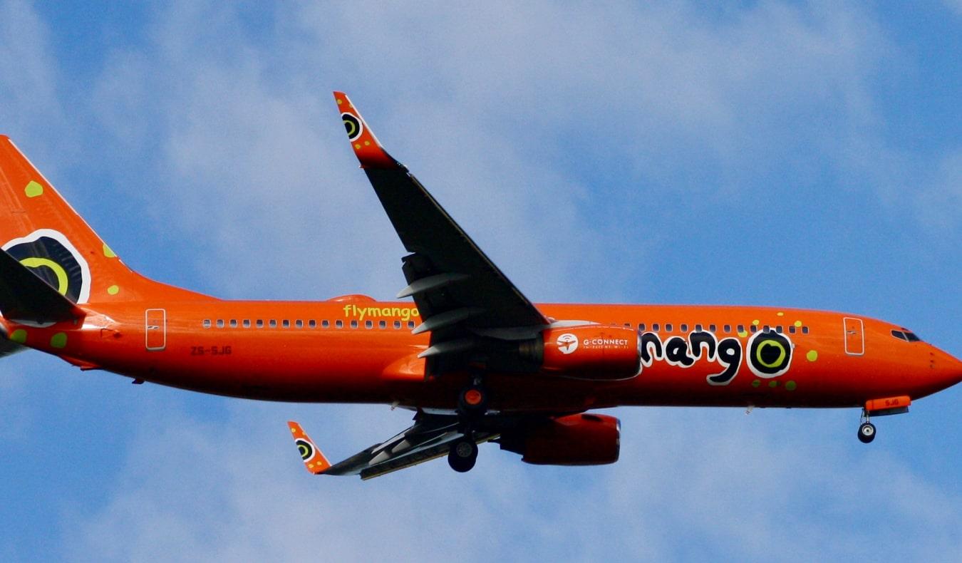 orange mango air plane from south africa