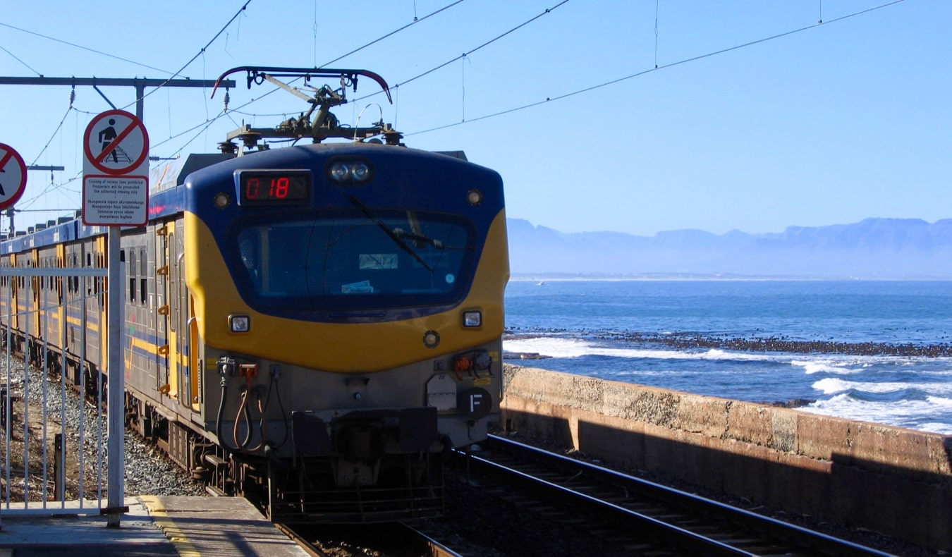 A train winding along the coast of South Africa
