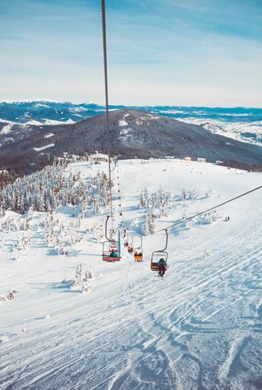 A ski lift in the Carpathians in Ukraine