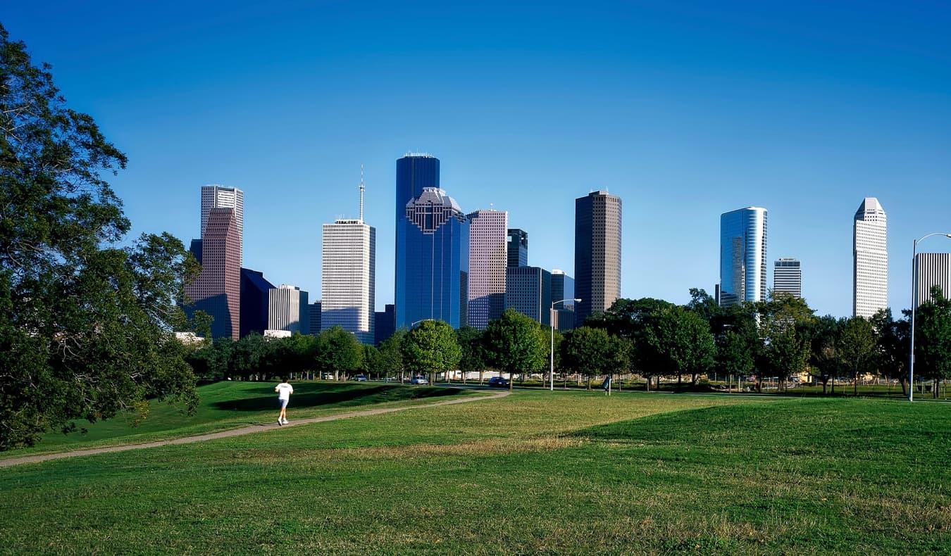 A large green park near downtown Houston, Texas, USA
