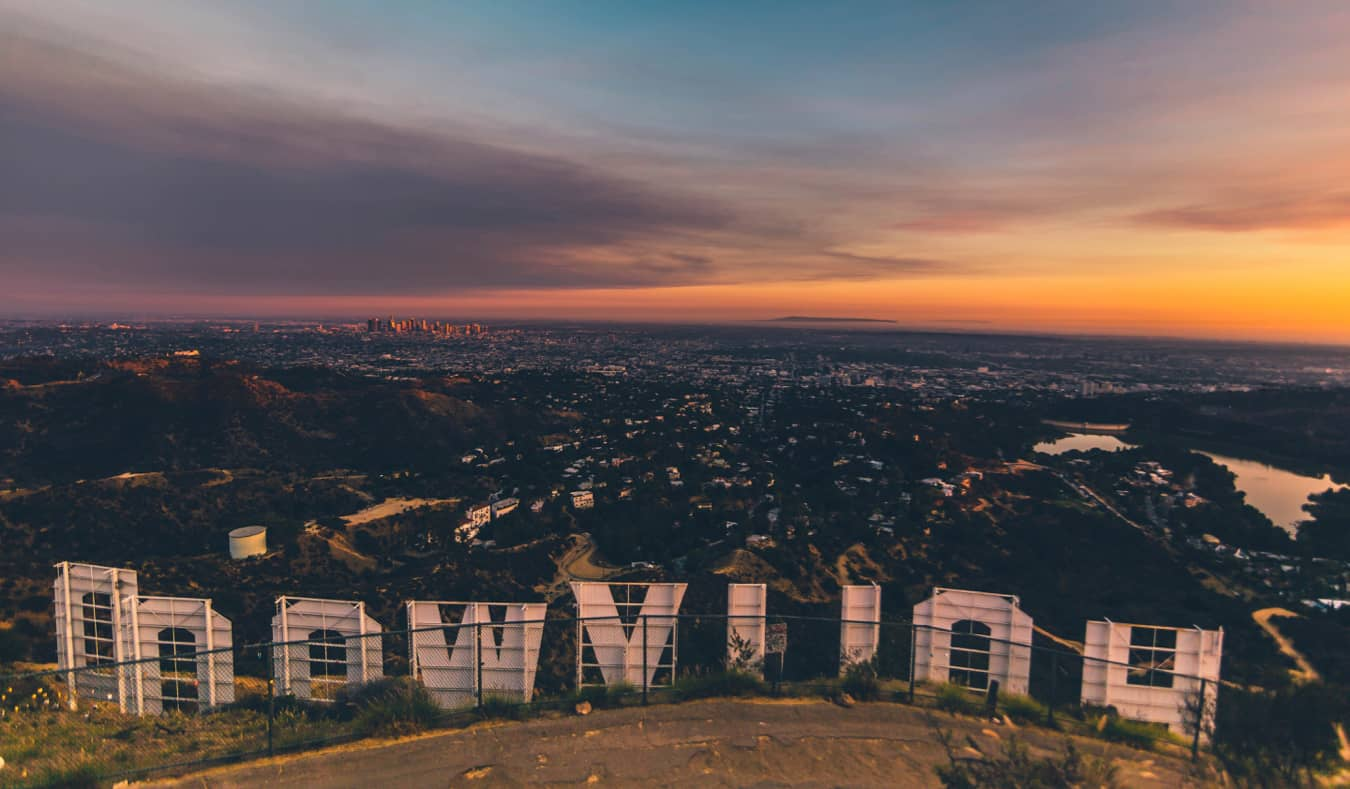 The view of LA at sunset from the Hollywood sign