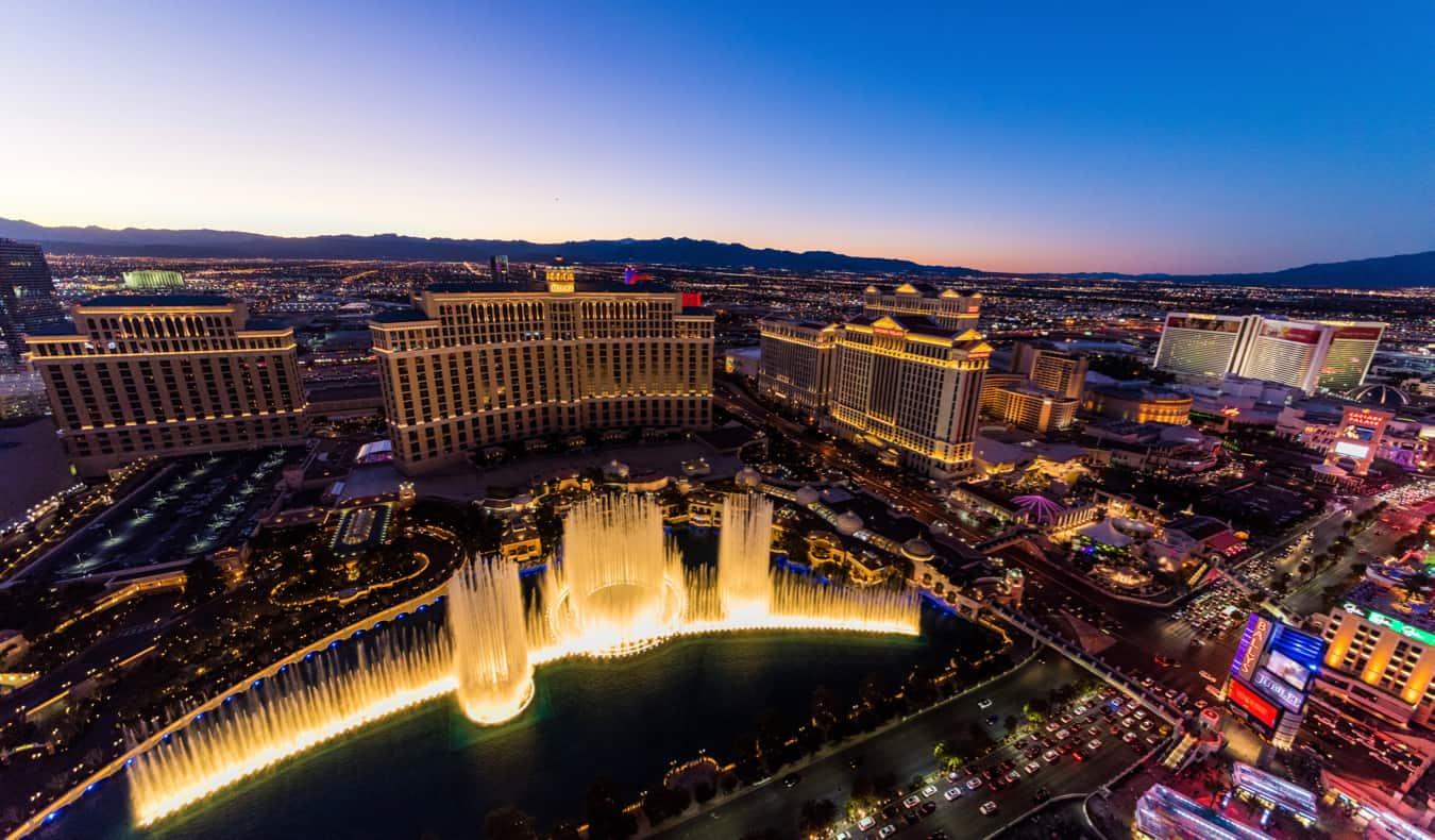 The Vegas Strip lit up at night