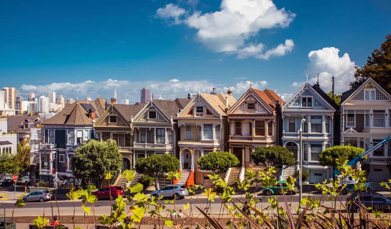 Colorful rowhouses in San Francisco, California, USA