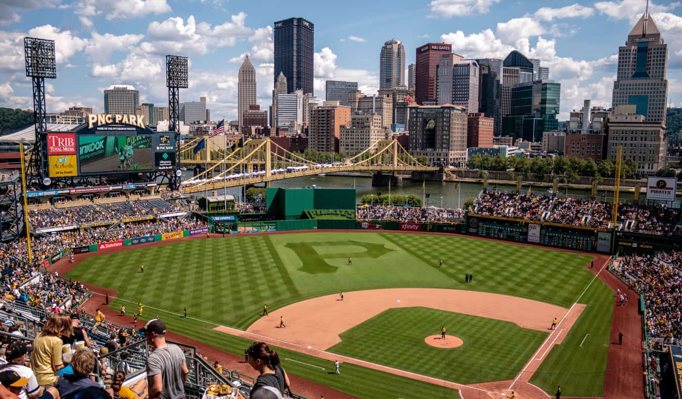A baseball game in a huge stadium in Pittsburgh, PA