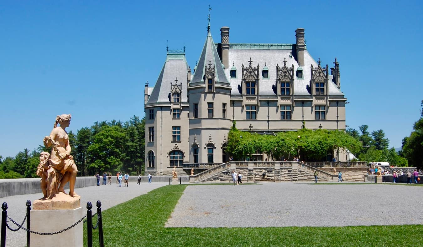 The famous Biltmore Mansion and its spacious gardens